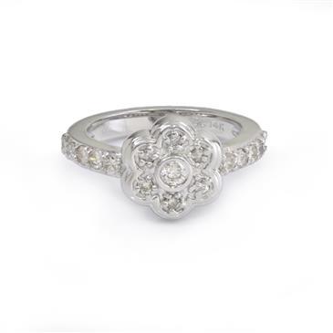 Diamond flower ring in 14kt white gold rings fine jewelry and forever diamonds diamond flower ring in 14kt white gold mightylinksfo