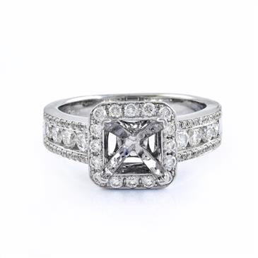 A.V Vintage Halo Diamond Engagement Setting in 18kt White Gold