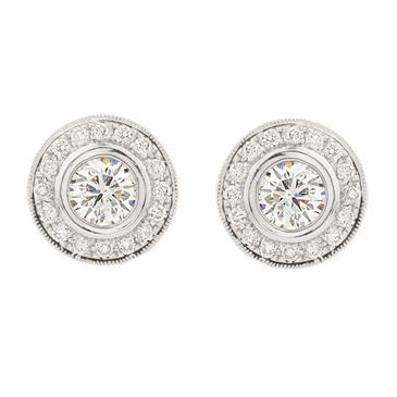 Forever Diamonds Antique Design Diamond Stud Earrings in 14kt White Gold
