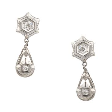 Forever Diamonds Antique Star And Tear Drop Diamond Earrings In 14kt White Gold