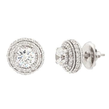 Forever Diamonds Antique Style Diamond Stud Earrings In Platinum