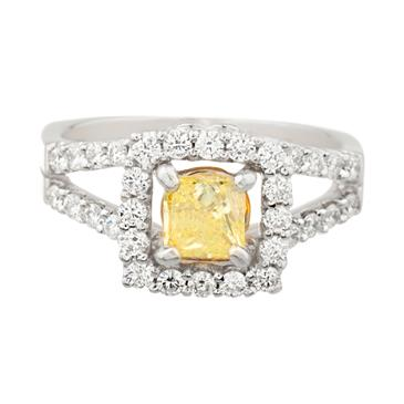 29e41a7c5db14 Square Canary Yellow Diamond Engagement Ring in 18kt White Gold