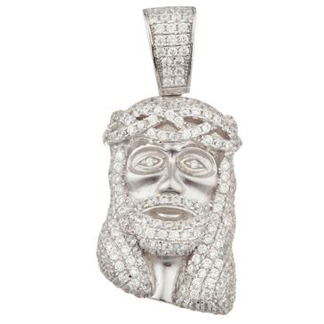 Small cubic zirconia head of jesus pendant in sterling silver forever diamonds small cubic zirconia head of jesus pendant in sterling silver aloadofball Image collections