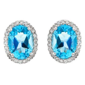 Diamond Blue Topaz Stud Earrings In 14kt White Gold