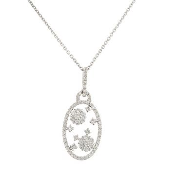 Diamond cluster oval pendant in 18kt white gold forever diamonds diamond cluster oval pendant in 18kt white gold mozeypictures Images