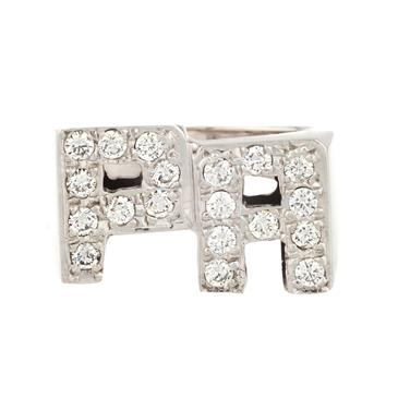 "Forever Diamonds Diamond ""P.A."" Initial Ring in 14kt White Gold"