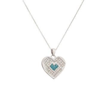 Enhanced blue diamond heart pendant in 14kt white gold forever diamonds enhanced blue diamond heart pendant in 14kt white gold mozeypictures Image collections
