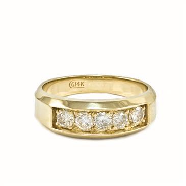 Forever Diamonds Five Stone Men S Diamond Wedding Band In 14kt Yellow Gold