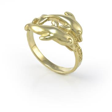 Twin Dolphin Ring In 14kt Yellow Gold Rings Fine Jewelry and