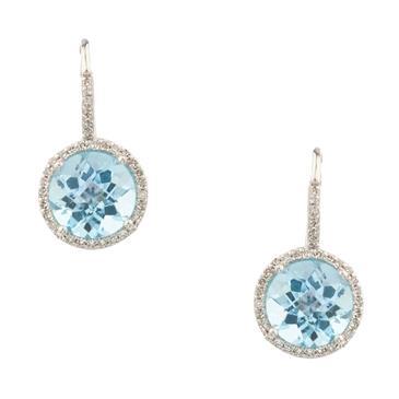Forever Diamonds London Blue Topaz And Diamond Earrings In 14kt White Gold