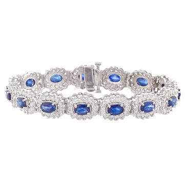 Natural Blue Shire And Diamond Bracelet In 14kt White Gold