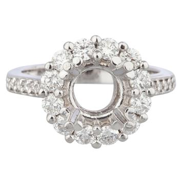 0589a48febdf4a Forever Diamonds Round Diamond Halo Style Engagement Ring Setting in 14kt  White Gold