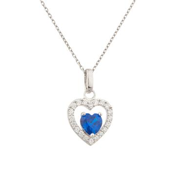 Sterling silver gemstone heart pendant forever diamonds sterling silver gemstone heart pendant mozeypictures Image collections