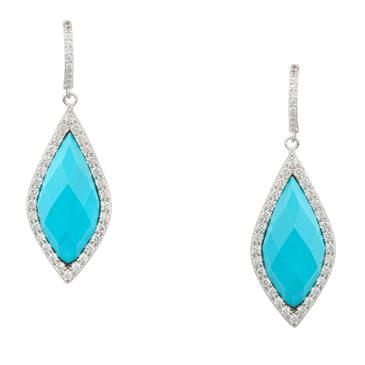 Forever Diamonds Turquoise Drop Earrings in Sterling Silver