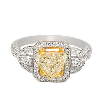 Trillion Cut Canary Yellow Diamond Engagement Ring In 18kt White ...
