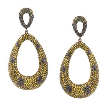 Forever Diamonds Yellow and Black Diamond Earrings in Silver/14kt Gold