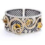 4.00ct TDW. Diamond Amber Bangle in 14kt Two-Toned Gold